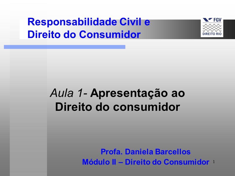 1 Apresentação ao Direito do consumidor Aula 1- Apresentação ao Direito do consumidor Profa. Daniela Barcellos Módulo II – Direito do Consumidor Respo
