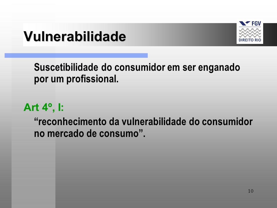 10 Vulnerabilidade Suscetibilidade do consumidor em ser enganado por um profissional. Art 4º, I: reconhecimento da vulnerabilidade do consumidor no me