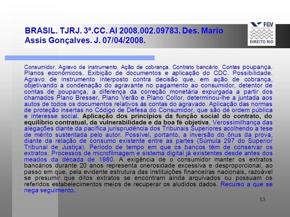 13 BRASIL. TJRJ. 3ª.CC. AI 2008.002.09783. Des. Mario Assis Gonçalves. J. 07/04/2008. Consumidor. Agravo de instrumento. Ação de cobrança. Contrato ba