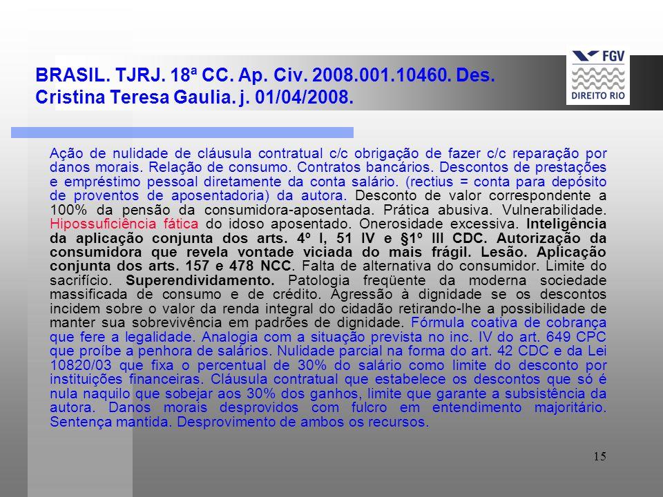 15 BRASIL. TJRJ. 18ª CC. Ap. Civ. 2008.001.10460. Des. Cristina Teresa Gaulia. j. 01/04/2008. Ação de nulidade de cláusula contratual c/c obrigação de