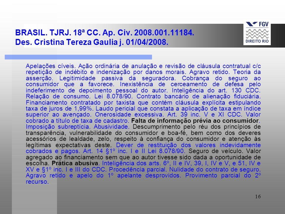 16 BRASIL.TJRJ. 18ª CC. Ap. Civ. 2008.001.11184. Des.