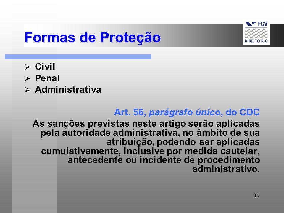 17 Formas de Proteção Civil Penal Administrativa Art. 56, parágrafo único, do CDC As sanções previstas neste artigo serão aplicadas pela autoridade ad