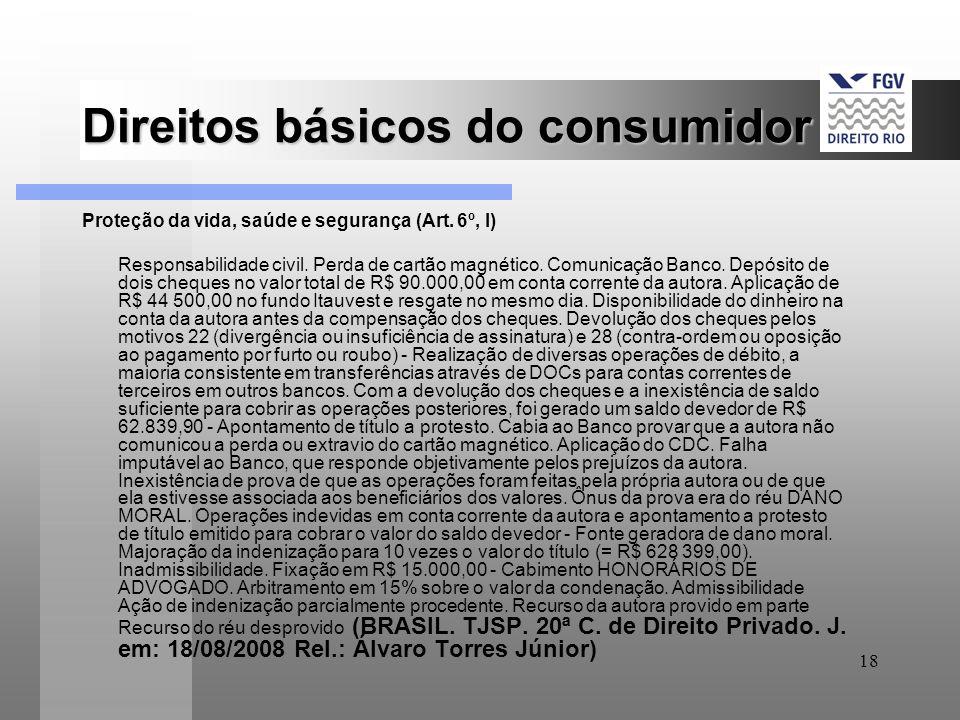 18 Direitos básicos do consumidor Proteção da vida, saúde e segurança (Art. 6º, I) Responsabilidade civil. Perda de cartão magnético. Comunicação Banc