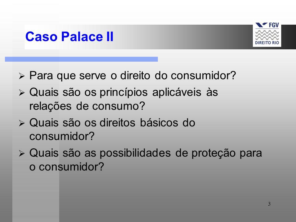 3 Caso Palace II Para que serve o direito do consumidor? Quais são os princípios aplicáveis às relações de consumo? Quais são os direitos básicos do c