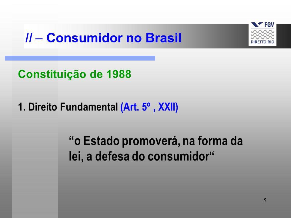 5 II – Consumidor no Brasil Constituição de 1988 1. Direito Fundamental (Art. 5º, XXII) o Estado promoverá, na forma da lei, a defesa do consumidor