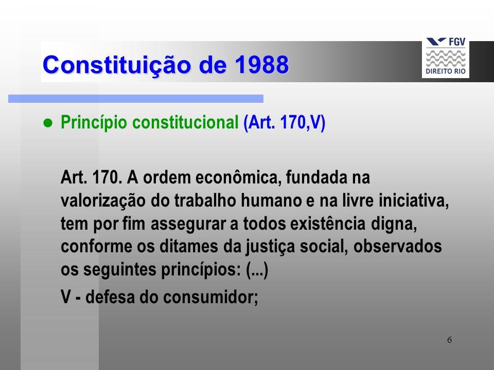 6 Constituição de 1988 Princípio constitucional (Art. 170,V) Art. 170. A ordem econômica, fundada na valorização do trabalho humano e na livre iniciat