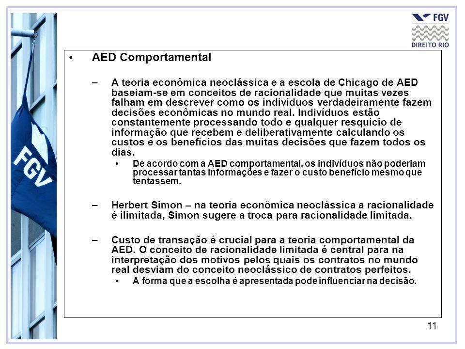 11 AED Comportamental –A teoria econômica neoclássica e a escola de Chicago de AED baseiam-se em conceitos de racionalidade que muitas vezes falham em