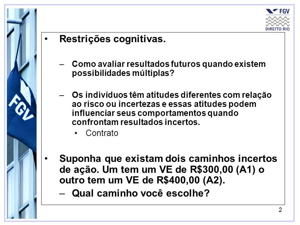 2 Restrições cognitivas. –Como avaliar resultados futuros quando existem possibilidades múltiplas? –Os indivíduos têm atitudes diferentes com relação