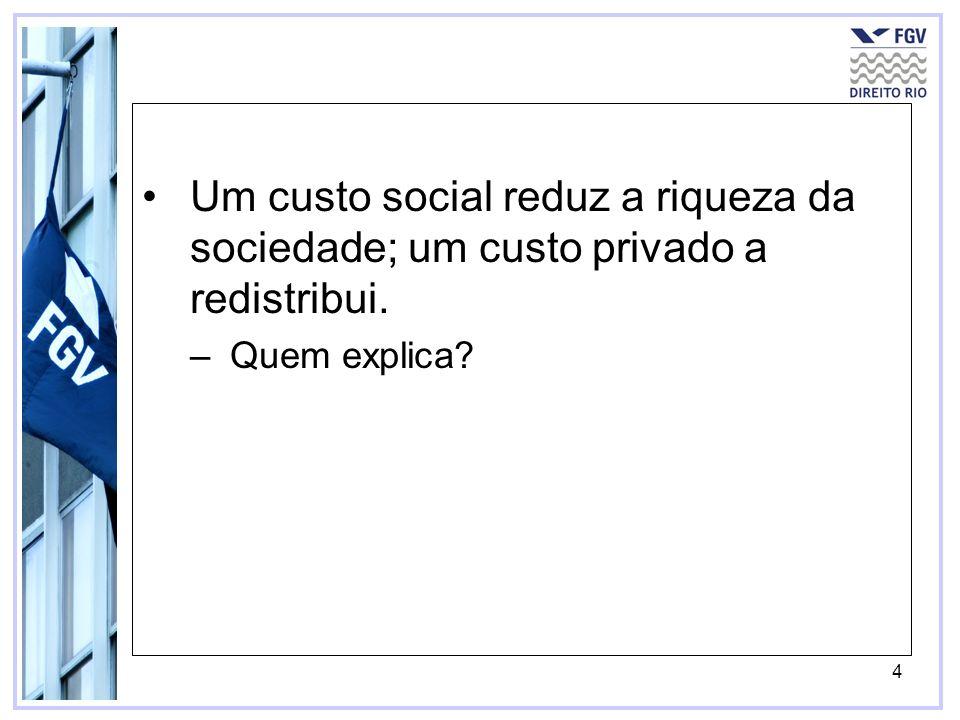 4 Um custo social reduz a riqueza da sociedade; um custo privado a redistribui. –Quem explica?