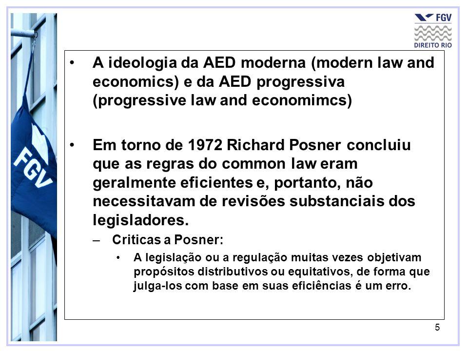 5 A ideologia da AED moderna (modern law and economics) e da AED progressiva (progressive law and economimcs) Em torno de 1972 Richard Posner concluiu