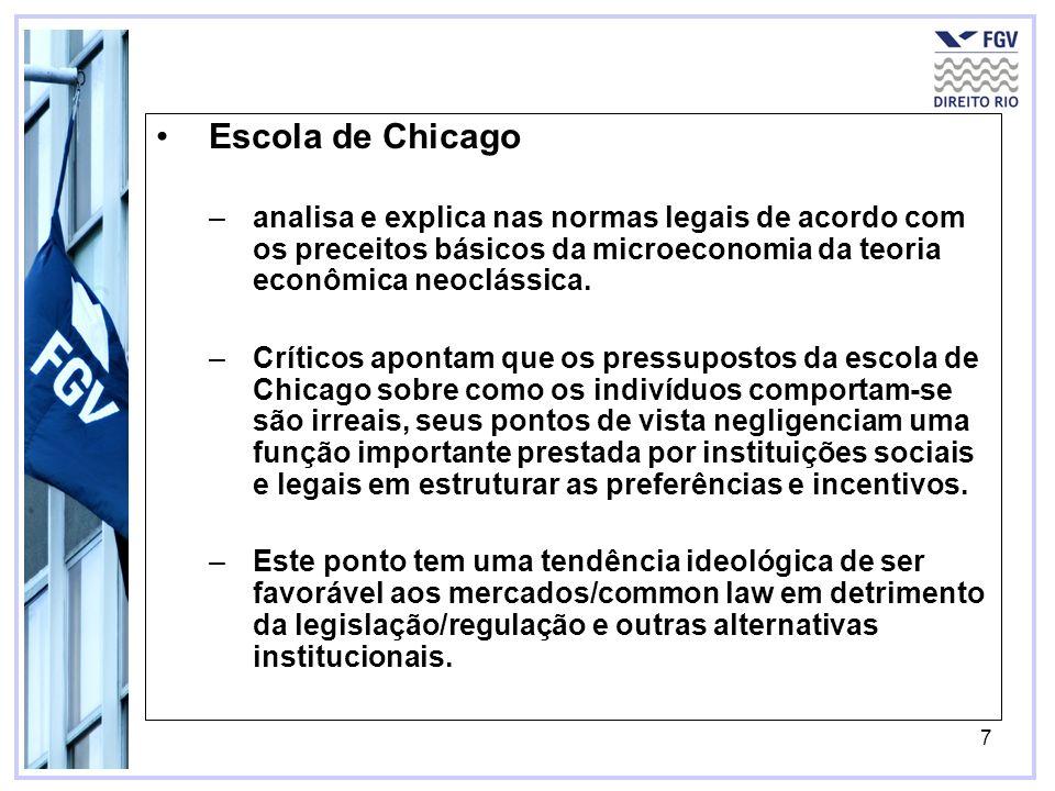7 Escola de Chicago –analisa e explica nas normas legais de acordo com os preceitos básicos da microeconomia da teoria econômica neoclássica. –Crítico