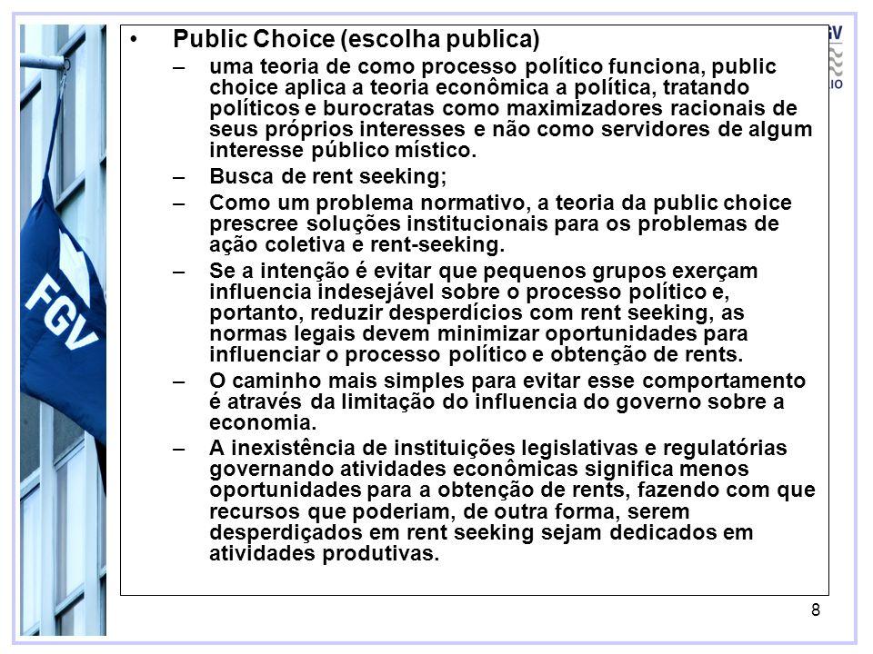 8 Public Choice (escolha publica) –uma teoria de como processo político funciona, public choice aplica a teoria econômica a política, tratando polític