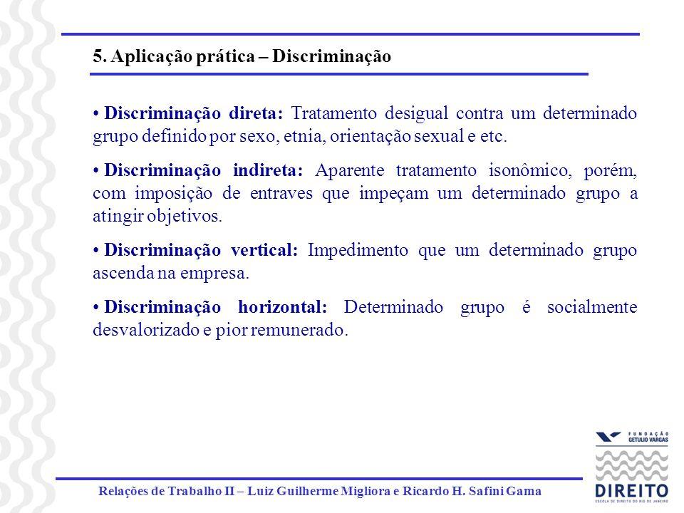Relações de Trabalho II – Luiz Guilherme Migliora e Ricardo H. Safini Gama 5. Aplicação prática – Discriminação Discriminação direta: Tratamento desig