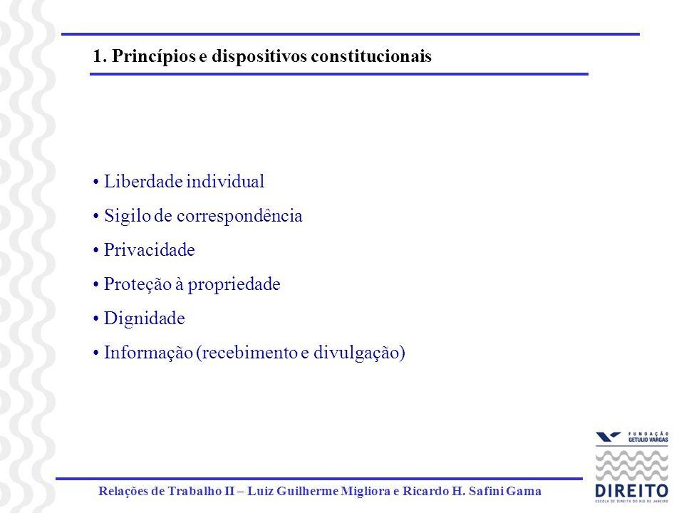 Relações de Trabalho II – Luiz Guilherme Migliora e Ricardo H. Safini Gama 1. Princípios e dispositivos constitucionais Liberdade individual Sigilo de