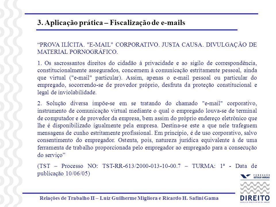 Relações de Trabalho II – Luiz Guilherme Migliora e Ricardo H. Safini Gama 3. Aplicação prática – Fiscalização de e-mails PROVA ILÍCITA.