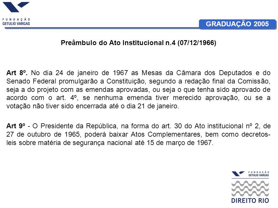 GRADUAÇÃO 2005 Preâmbulo do Ato Institucional n.4 (07/12/1966) Art 8º. No dia 24 de janeiro de 1967 as Mesas da Câmara dos Deputados e do Senado Feder