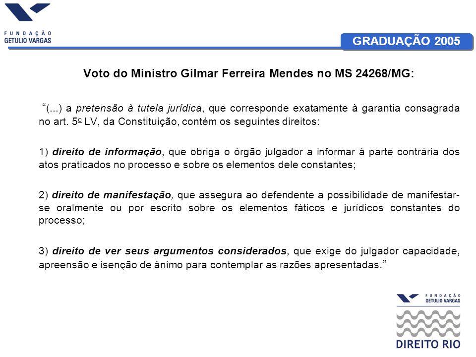GRADUAÇÃO 2005 Voto do Ministro Gilmar Ferreira Mendes no MS 24268/MG: (...) a pretensão à tutela jurídica, que corresponde exatamente à garantia cons