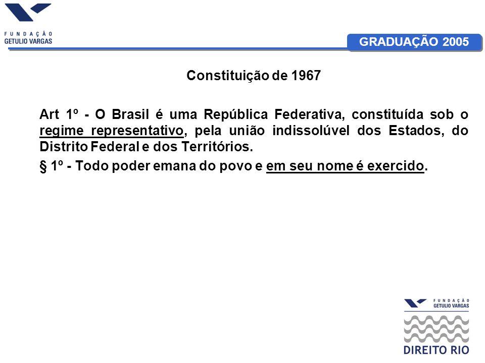 GRADUAÇÃO 2005 Constituição de 1967 Art 1º - O Brasil é uma República Federativa, constituída sob o regime representativo, pela união indissolúvel dos