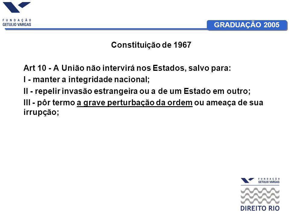 GRADUAÇÃO 2005 Constituição de 1967 Art 10 - A União não intervirá nos Estados, salvo para: I - manter a integridade nacional; II - repelir invasão es