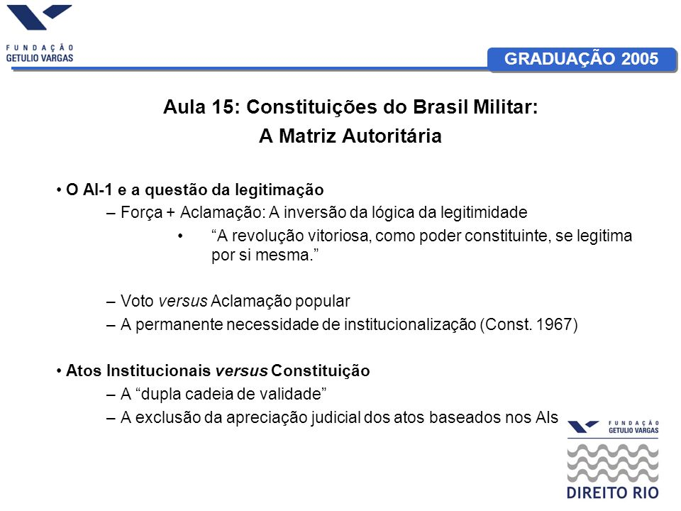 GRADUAÇÃO 2005 Aula 15: Constituições do Brasil Militar: A Matriz Autoritária O AI-1 e a questão da legitimação –Força + Aclamação: A inversão da lógi