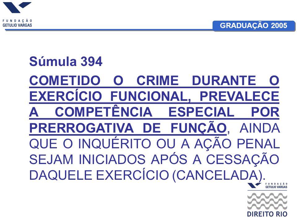 GRADUAÇÃO 2005 Súmula 394 COMETIDO O CRIME DURANTE O EXERCÍCIO FUNCIONAL, PREVALECE A COMPETÊNCIA ESPECIAL POR PRERROGATIVA DE FUNÇÃO, AINDA QUE O INQ