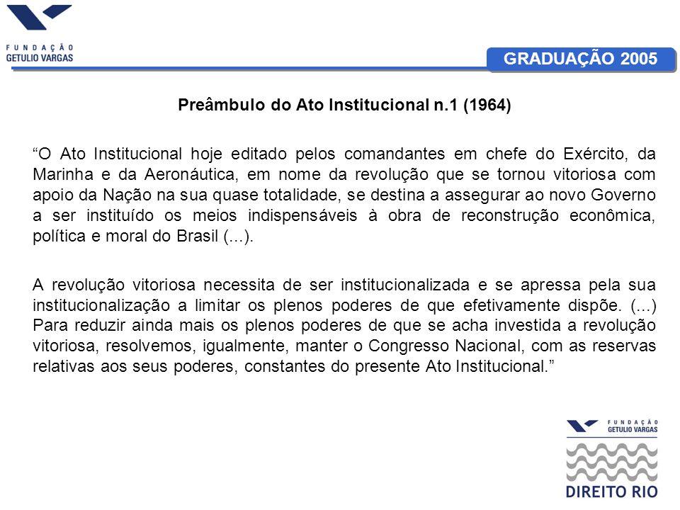 GRADUAÇÃO 2005 Aula 15: Constituições do Brasil Militar: A Matriz Autoritária O AI-1 e a questão da legitimação –Força + Aclamação: A inversão da lógica da legitimidade A revolução vitoriosa, como poder constituinte, se legitima por si mesma.