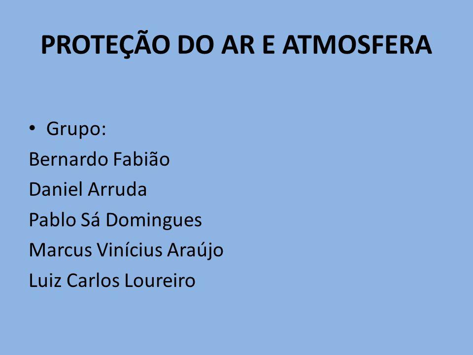 PROTEÇÃO DO AR E ATMOSFERA Grupo: Bernardo Fabião Daniel Arruda Pablo Sá Domingues Marcus Vinícius Araújo Luiz Carlos Loureiro