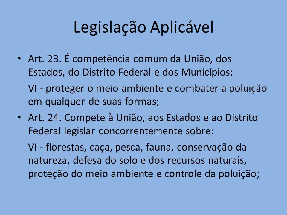 Legislação Aplicável Art. 23. É competência comum da União, dos Estados, do Distrito Federal e dos Municípios: VI - proteger o meio ambiente e combate