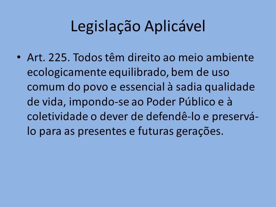 Legislação Aplicável Art. 225. Todos têm direito ao meio ambiente ecologicamente equilibrado, bem de uso comum do povo e essencial à sadia qualidade d