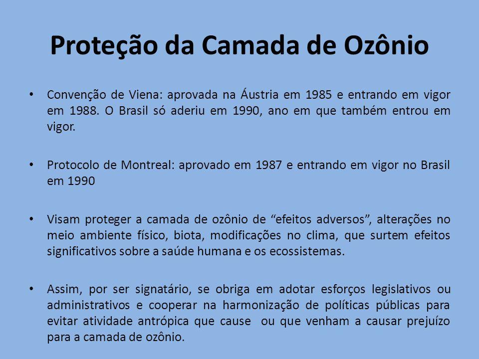 Convenção de Viena: aprovada na Áustria em 1985 e entrando em vigor em 1988. O Brasil só aderiu em 1990, ano em que também entrou em vigor. Protocolo