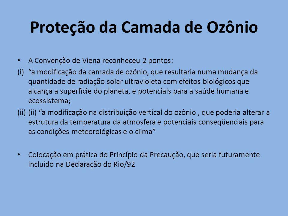 Proteção da Camada de Ozônio A Convenção de Viena reconheceu 2 pontos: (i)a modificação da camada de ozônio, que resultaria numa mudança da quantidade