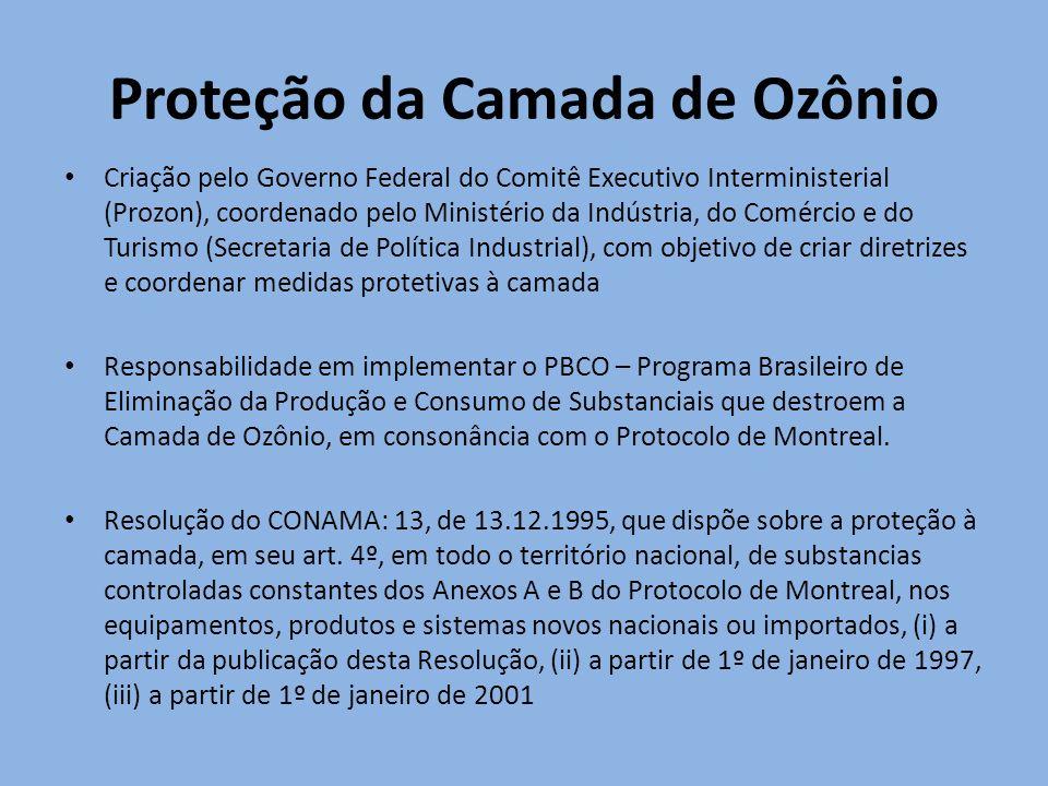 Proteção da Camada de Ozônio Criação pelo Governo Federal do Comitê Executivo Interministerial (Prozon), coordenado pelo Ministério da Indústria, do C