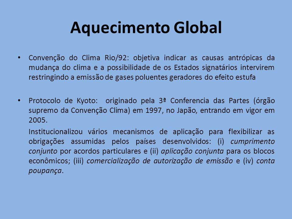Aquecimento Global Convenção do Clima Rio/92: objetiva indicar as causas antrópicas da mudança do clima e a possibilidade de os Estados signatários in