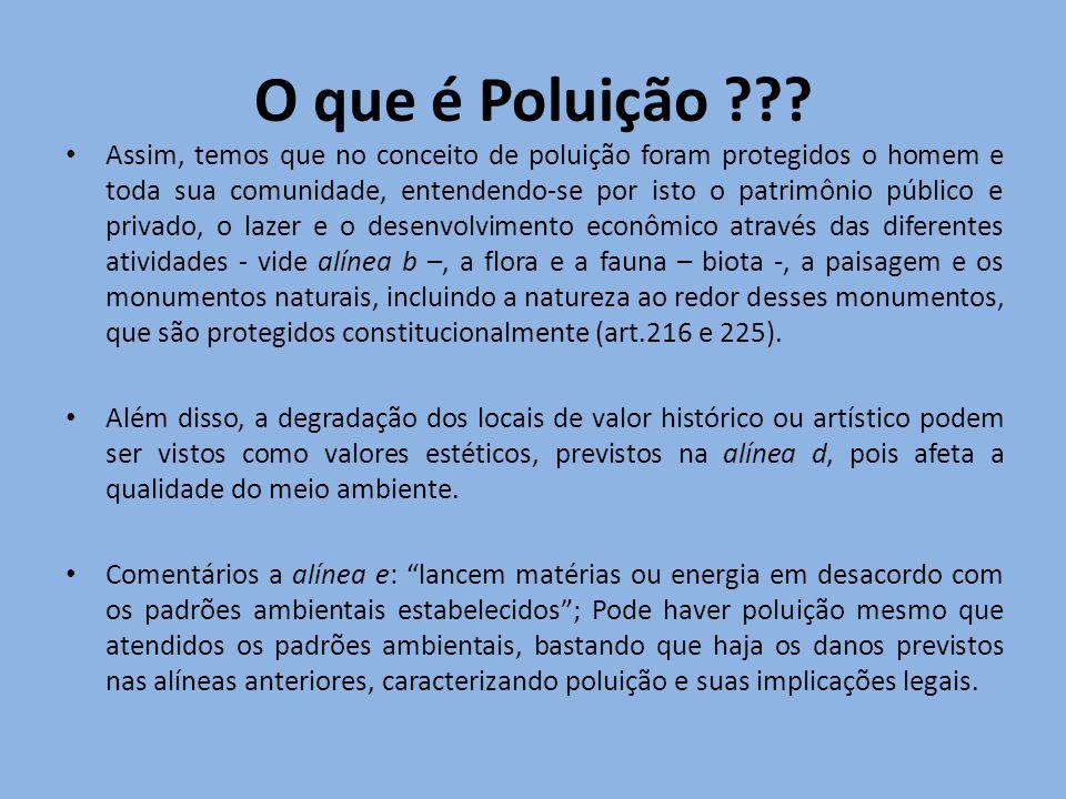O que é Poluição ??? Assim, temos que no conceito de poluição foram protegidos o homem e toda sua comunidade, entendendo-se por isto o patrimônio públ
