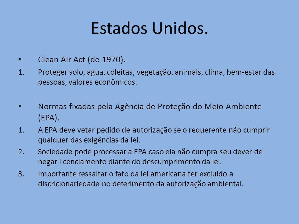 Estados Unidos. Clean Air Act (de 1970). 1.Proteger solo, água, coleitas, vegetação, animais, clima, bem-estar das pessoas, valores econômicos. Normas