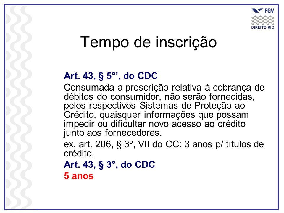Tempo de inscrição Art. 43, § 5°, do CDC Consumada a prescrição relativa à cobrança de débitos do consumidor, não serão fornecidas, pelos respectivos