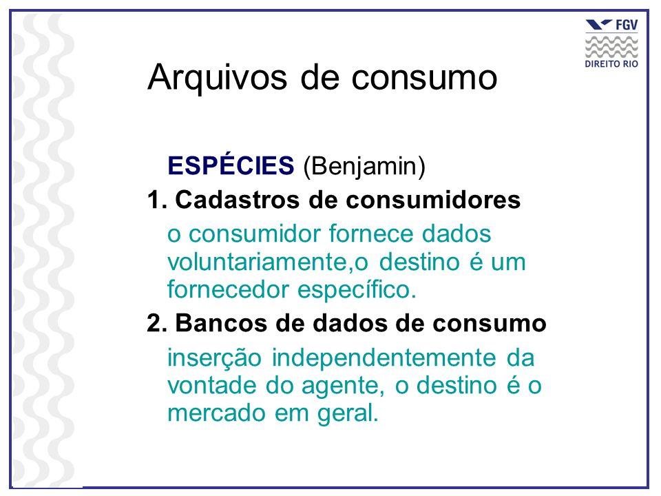 Arquivos de consumo ESPÉCIES (Benjamin) 1. Cadastros de consumidores o consumidor fornece dados voluntariamente,o destino é um fornecedor específico.