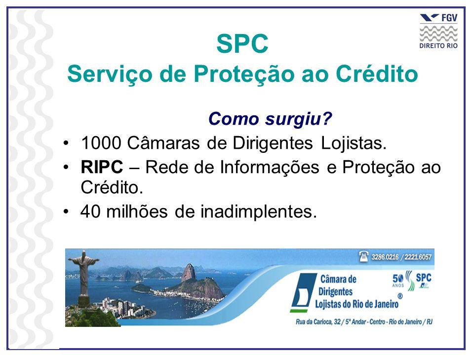 SPC Serviço de Proteção ao Crédito Como surgiu? 1000 Câmaras de Dirigentes Lojistas. RIPC – Rede de Informações e Proteção ao Crédito. 40 milhões de i