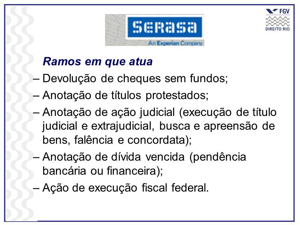 Ramos em que atua –Devolução de cheques sem fundos; –Anotação de títulos protestados; –Anotação de ação judicial (execução de título judicial e extraj