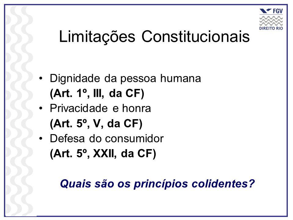 Limitações Constitucionais Dignidade da pessoa humana (Art. 1º, III, da CF) Privacidade e honra (Art. 5º, V, da CF) Defesa do consumidor (Art. 5º, XXI