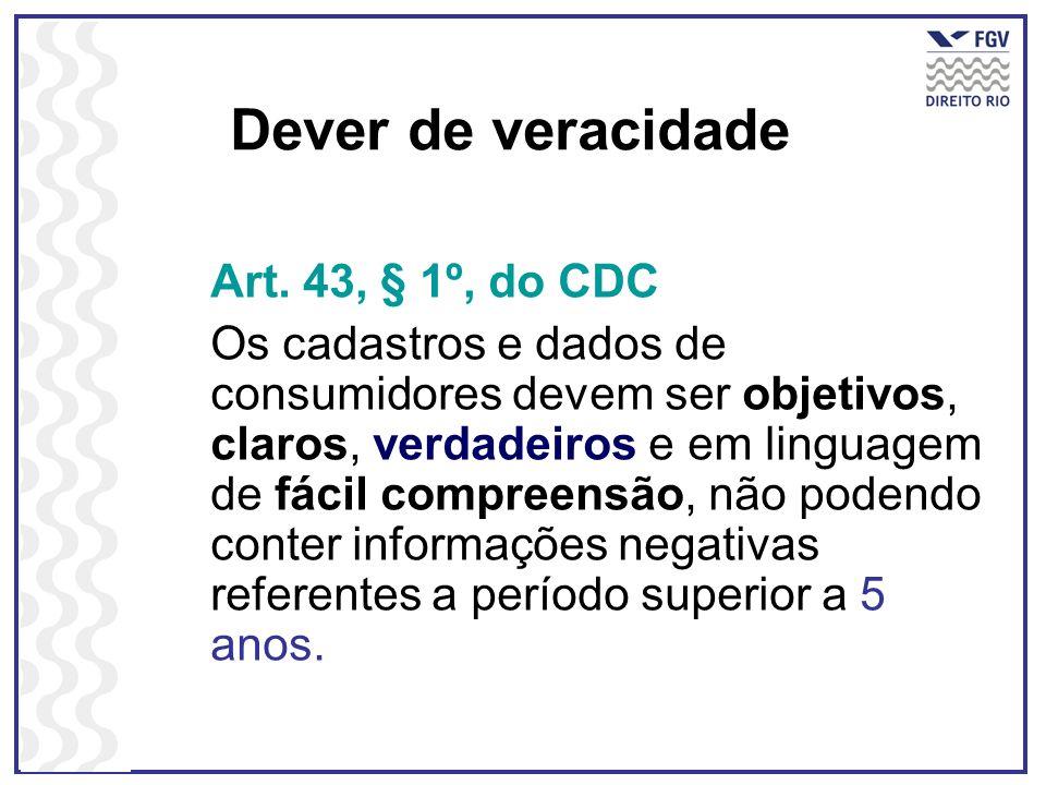 Dever de veracidade Art. 43, § 1º, do CDC Os cadastros e dados de consumidores devem ser objetivos, claros, verdadeiros e em linguagem de fácil compre