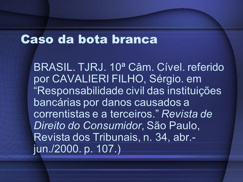 Caso da bota branca BRASIL. TJRJ. 10ª Câm. Cível. referido por CAVALIERI FILHO, Sérgio. em Responsabilidade civil das instituições bancárias por danos
