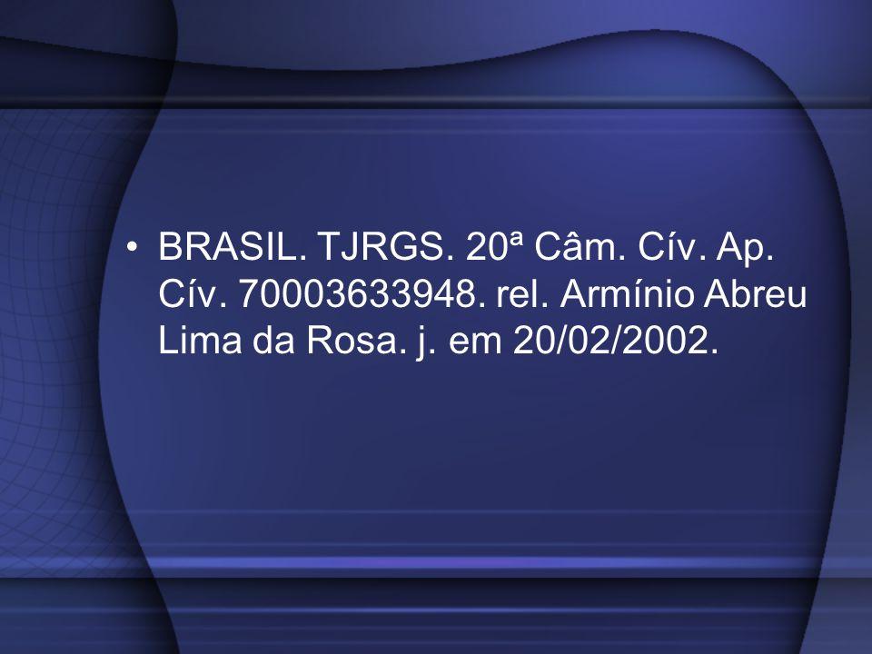 BRASIL. TJRGS. 20ª Câm. Cív. Ap. Cív. 70003633948. rel. Armínio Abreu Lima da Rosa. j. em 20/02/2002.