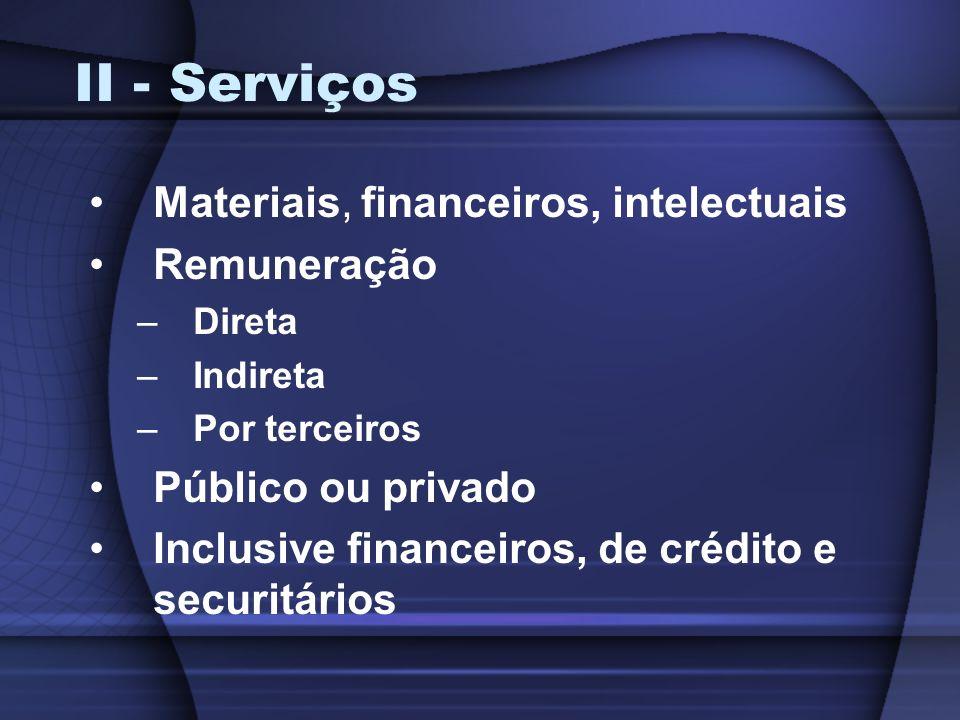 II - Serviços Materiais, financeiros, intelectuais Remuneração –Direta –Indireta –Por terceiros Público ou privado Inclusive financeiros, de crédito e