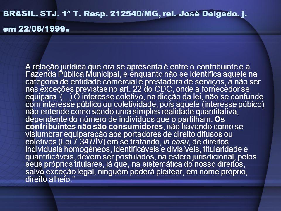 BRASIL. STJ. 1ª T. Resp. 212540/MG, rel. José Delgado. j. em 22/06/1999. A relação jurídica que ora se apresenta é entre o contribuinte e a Fazenda Pú