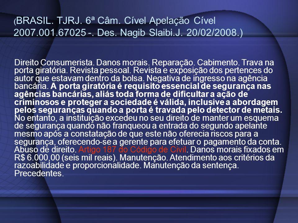 ( BRASIL. TJRJ. 6ª Câm. Cível Apelação Cível 2007.001.67025 -. Des. Nagib Slaibi.J. 20/02/2008.) Direito Consumerista. Danos morais. Reparação. Cabime