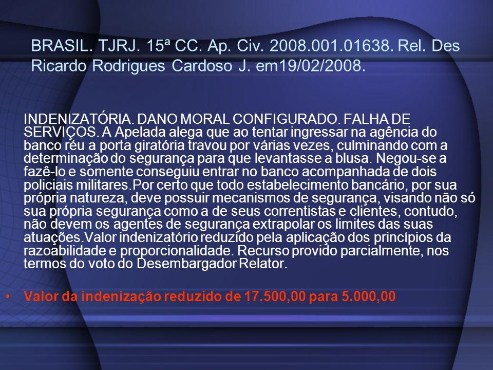 BRASIL. TJRJ. 15ª CC. Ap. Civ. 2008.001.01638. Rel. Des Ricardo Rodrigues Cardoso J. em19/02/2008. INDENIZATÓRIA. DANO MORAL CONFIGURADO. FALHA DE SER