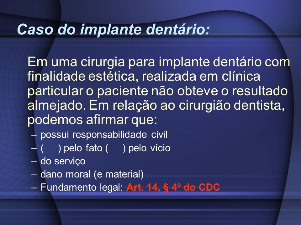 Caso do implante dentário: Em uma cirurgia para implante dentário com finalidade estética, realizada em clínica particular o paciente não obteve o res