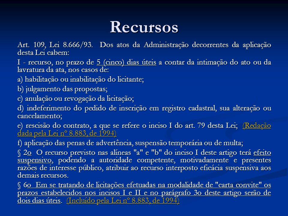 Recursos Art. 109, Lei 8.666/93. Dos atos da Administração decorrentes da aplicação desta Lei cabem: I - recurso, no prazo de 5 (cinco) dias úteis a c