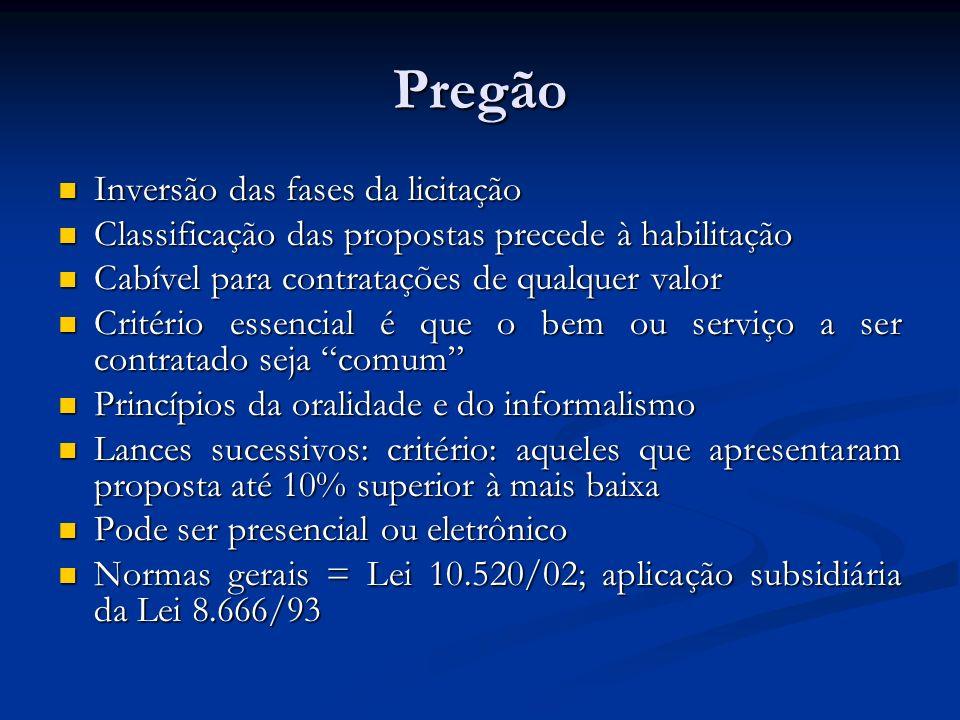 Pregão Inversão das fases da licitação Inversão das fases da licitação Classificação das propostas precede à habilitação Classificação das propostas p
